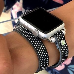 Apple iWatch Leather Band Double Wrap Polka Strap